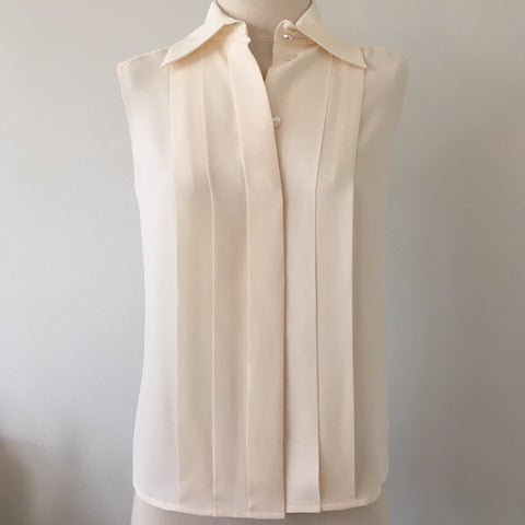 CHANEL Ecru Silk Crepe Blouse NWT