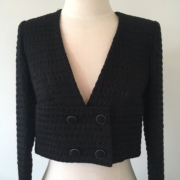 CHANEL Black Shimmer Cropped Jacket NWT