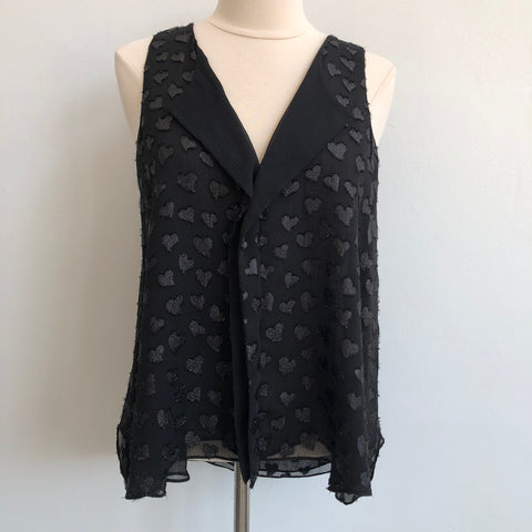 Alice Olivia Heart Black Drape Button