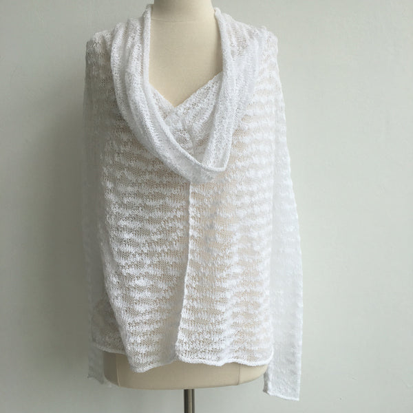 Indegenous White Cowl Sweater