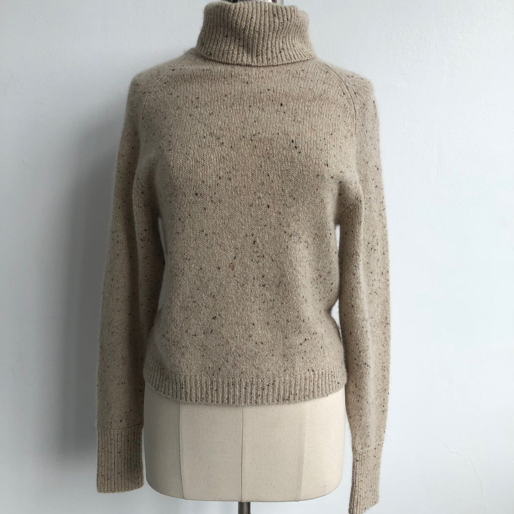 Vince Cream Cashmere Flecked Turtleneck