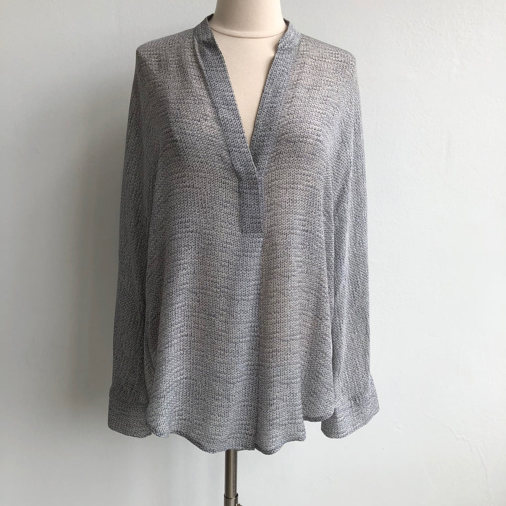 Vince Chain Print Silk Split Neck Gray