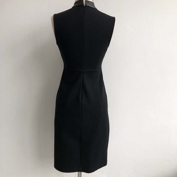 Halston Heritage Black Leather Piping Dress