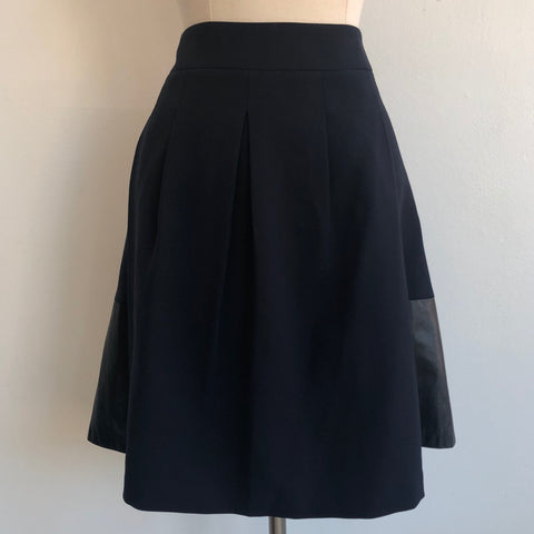 Vince Leather Panel Flare Skirt Navy/Black