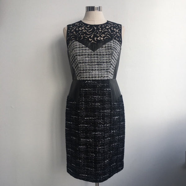 Milly Leather Lace Tweed Dress