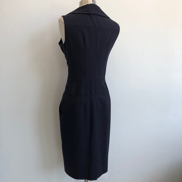 Reiss Navy Wide Collar Dress