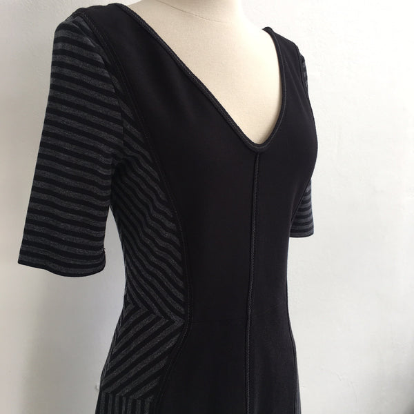 BCBG Max Azria Black Gray Striped V Dress
