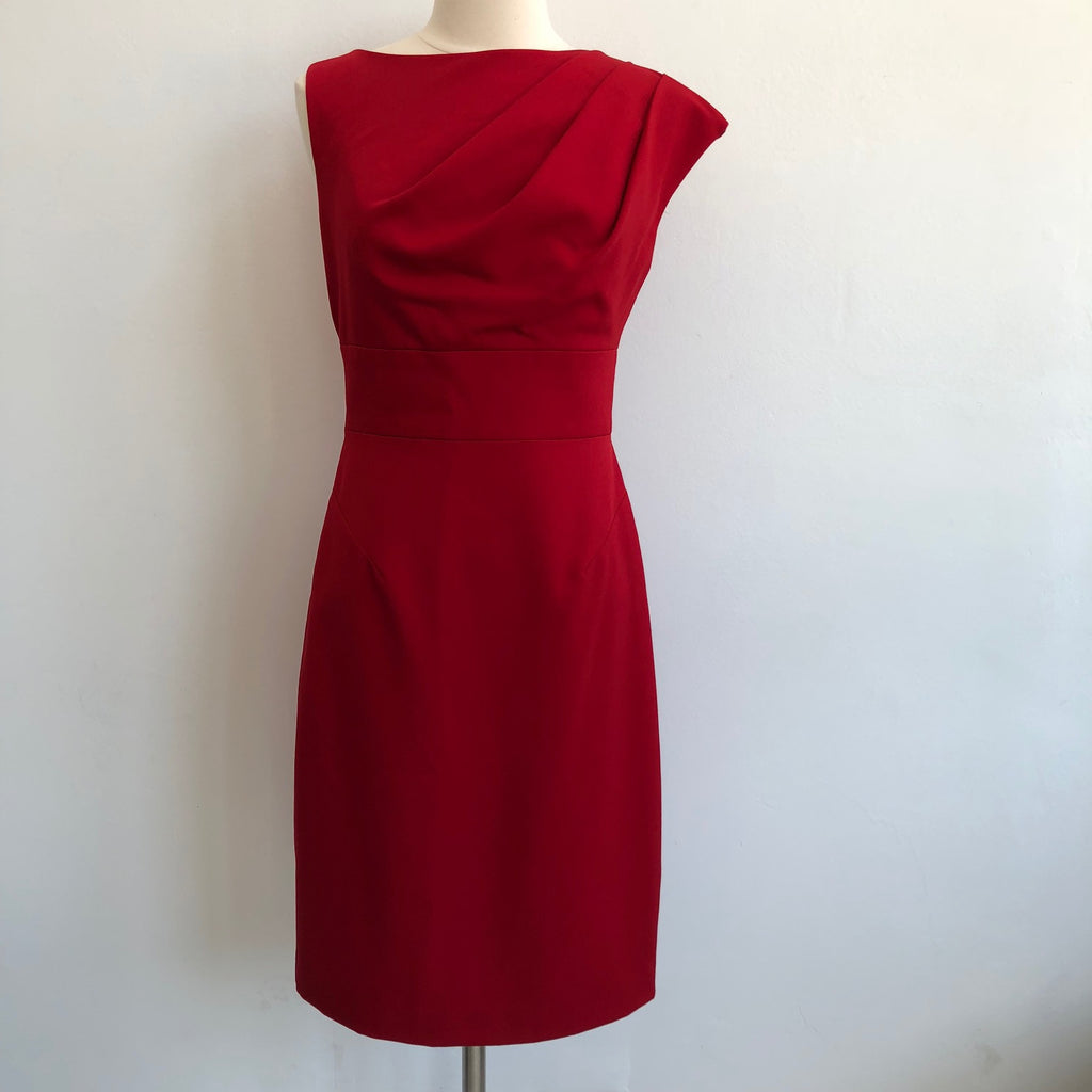 Black Halo Asymmetrical Red Ruched Dress