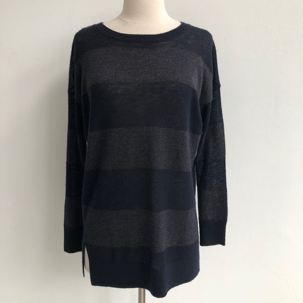 Vince Navy Black Striped Lightweight