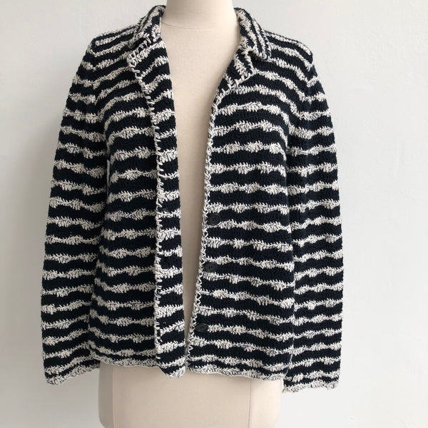 Amina Rubinacci Black White Striped Cardigan