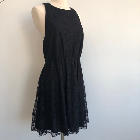 Alice Olivia Black Lace Leather Trim Dress