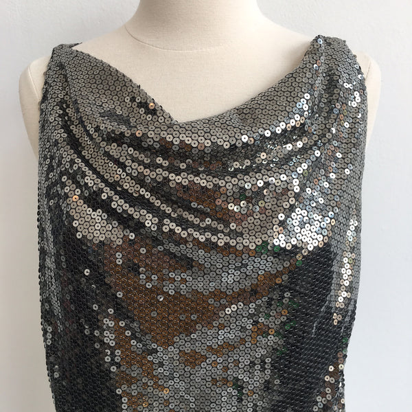 Alice Olivia Silver Sequin Draped Top