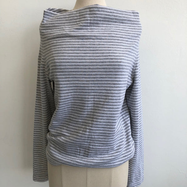James Perse Gray White Striped Off Shoulder
