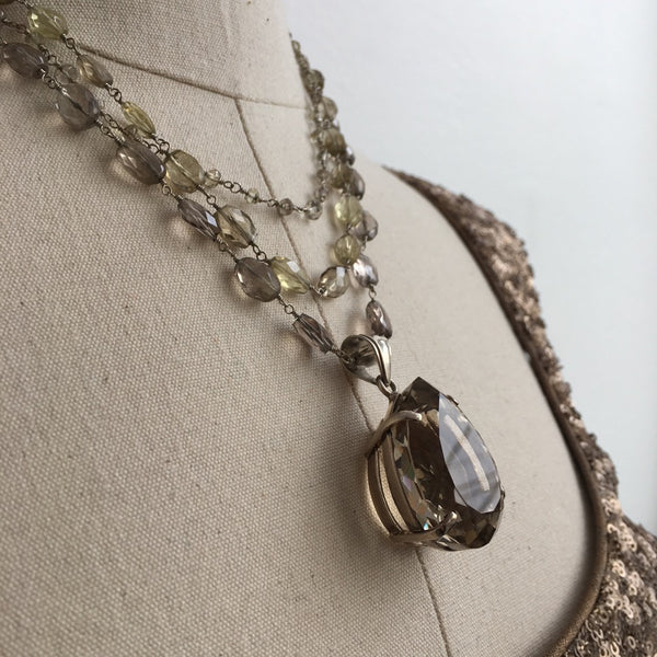 Safia Day Smoky Quartz Silver and Pearl Multi Strand Drop Necklace