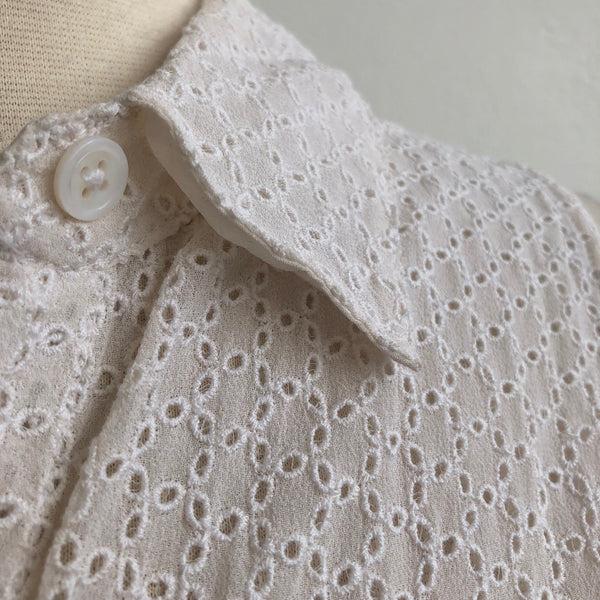 Equipment White Eyelet Tie Front