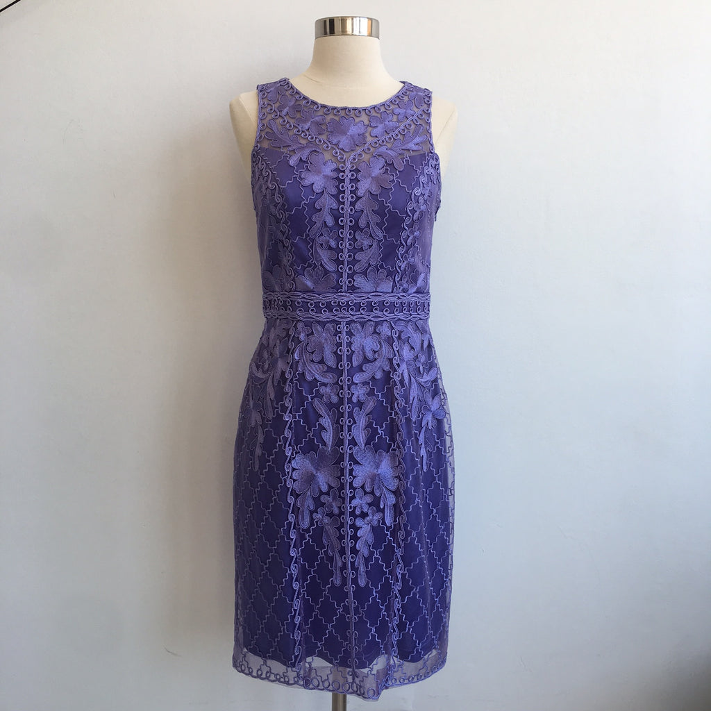 Sue Wong Purple Embroidered Dress
