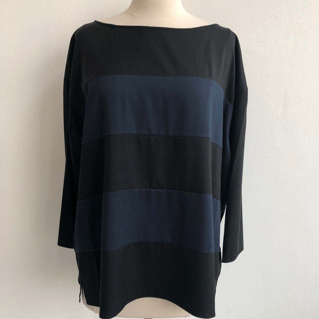 Theory Black Navy Stripe Top