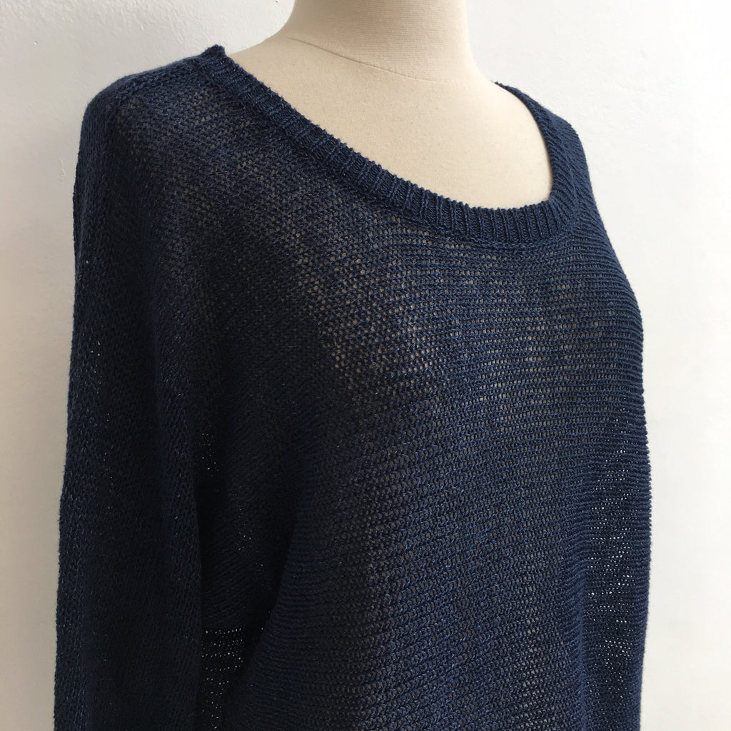 Joie Navy Linen Sweater