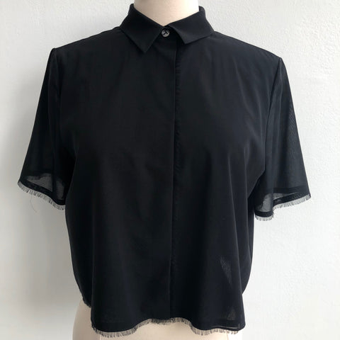 Alexander Wang Black Cropped Blouse