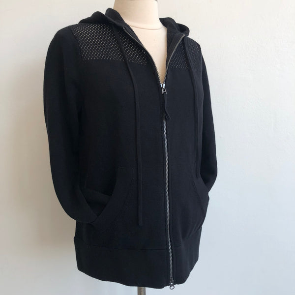 Margaret O'Leary Black Perforated Zip Hoodie