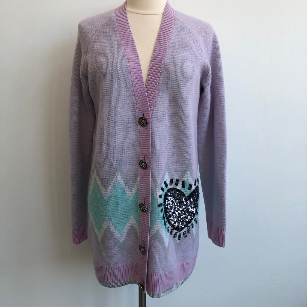 Coach x Keith Karing Sequin Heart Lavender Cardigan