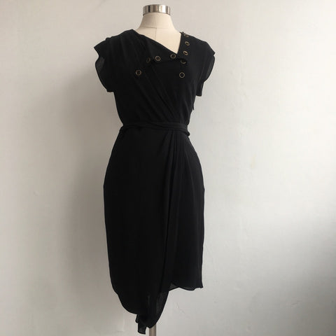 3.1 Philip Lim Button Neck Black Dress