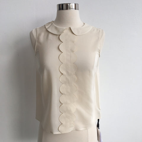 RED Valentino Ivory Silk Flutter Front NWT