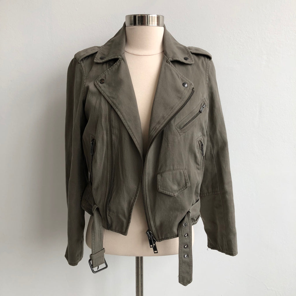 Club Monaco Taupe Moto Cotton Jacket