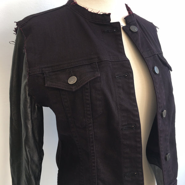 J Brand Leather Sleeve Jacket