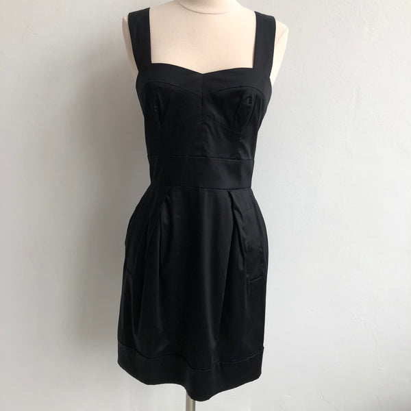 French Connection Black Flare Sweatheart Dress