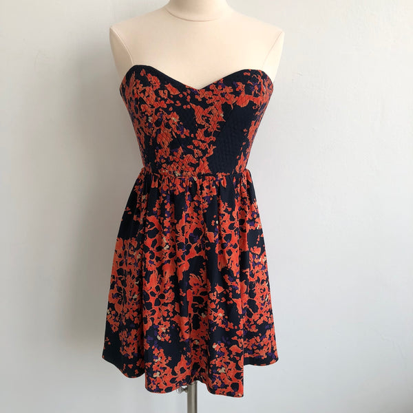 Parker Strapless Orange Navy Flare