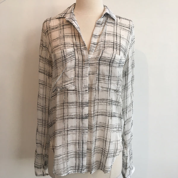 Bella Dahl White Plaid Long Sleeve
