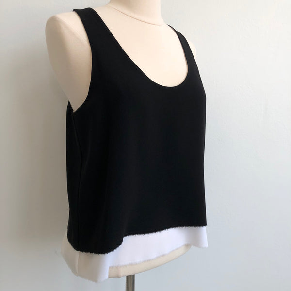 Edun Black Cream Fringe Tank