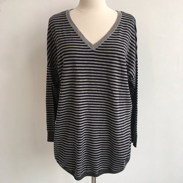 Joie Navy Gray Striped Sweater