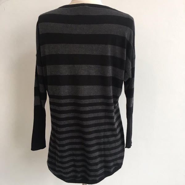 Joie Black Charcoal Striped Sweater