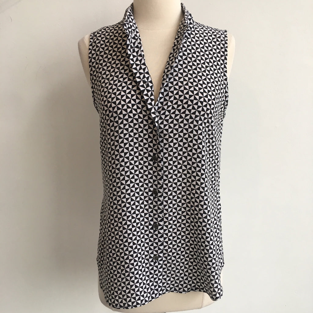 Equipment Geometric Sleeveless Silk Blouse