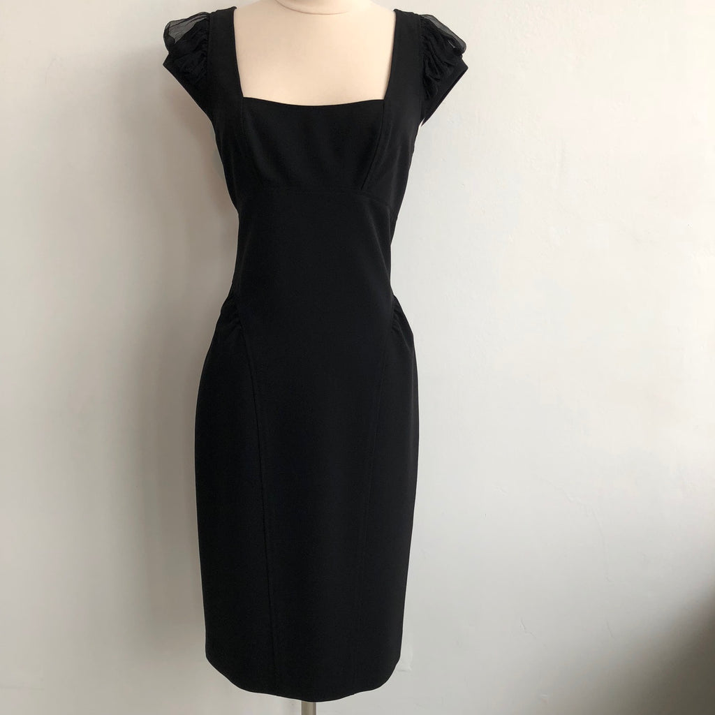Black Halo Black Silk Cap Sleeve Dress