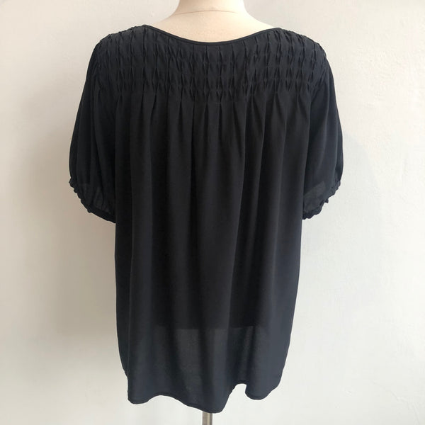 Joie Black Gathered Silk Pullover