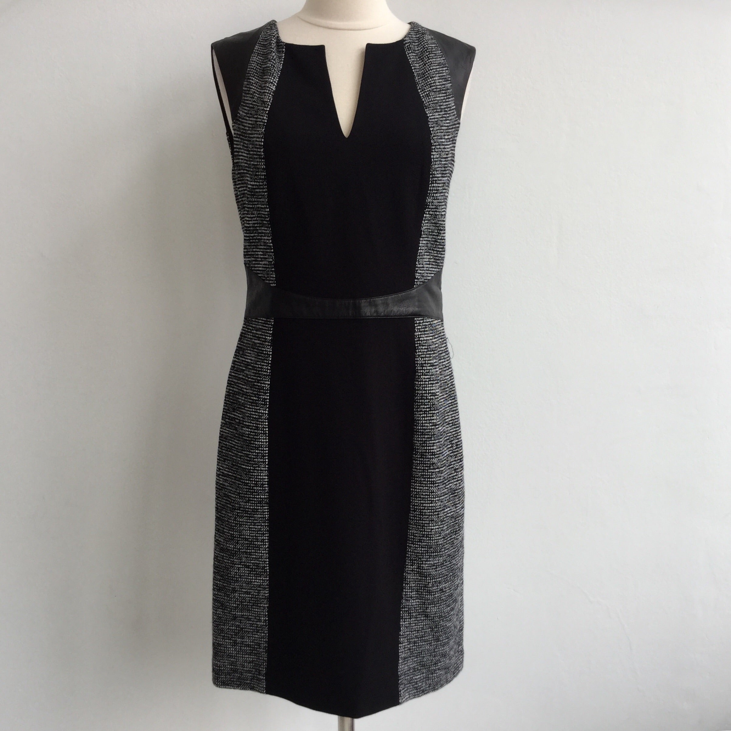Rebecca Taylor Black Tweed Leather Inset NWT