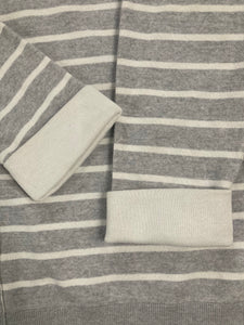 VINCE Striped Gray Boxy Sweater