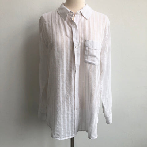 Rails Sheer White Striped Blouse