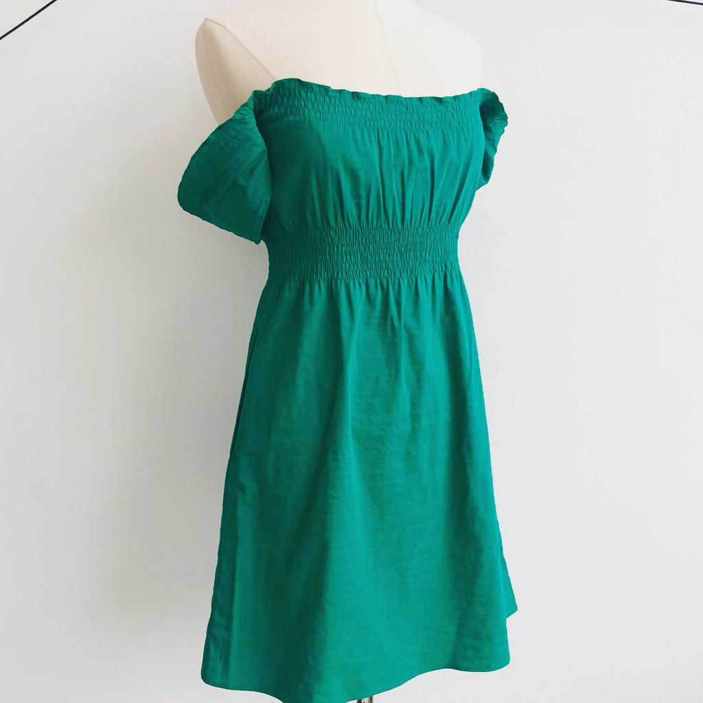 Theory Green Peasant Linen Dress