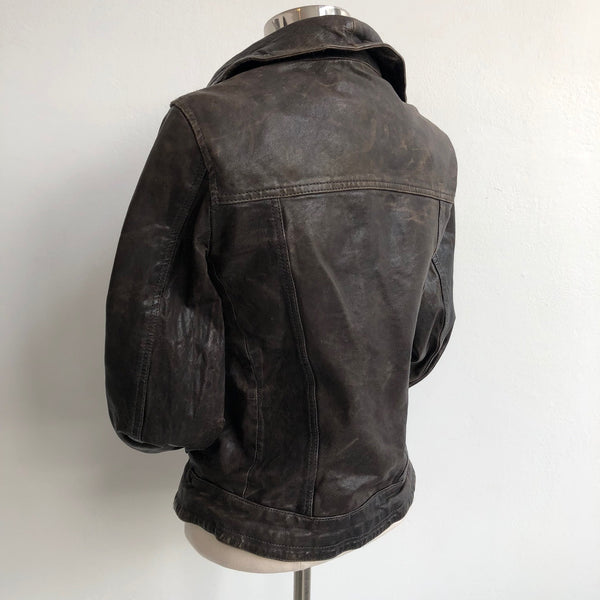 All Saints Distressed Angle Brown Leather