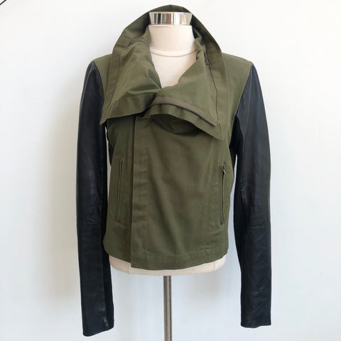 VEDA Green Leather Arm Jacket