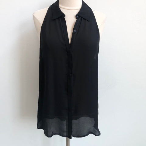 A.L.C. Black Silk Button UP