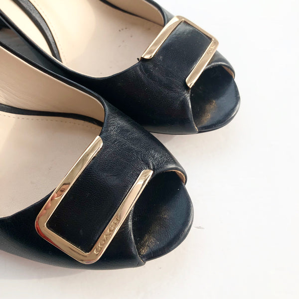 Coach Gold Hardware Black Wedge