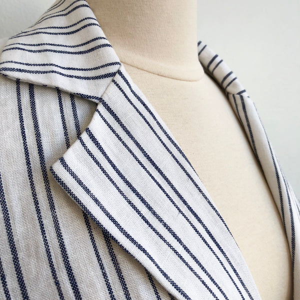 Aqua Linen Striped Blazer