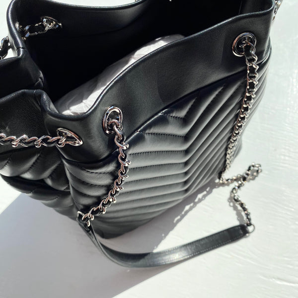 CHANEL Lambskin Chevron Small Urban Spirit Drawstring Bag Black