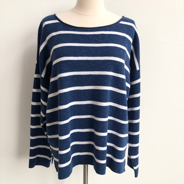 Eileen Fisher Blue Striped Linen Sweater