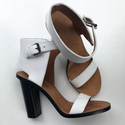 Vince Leather Ankle Strap White